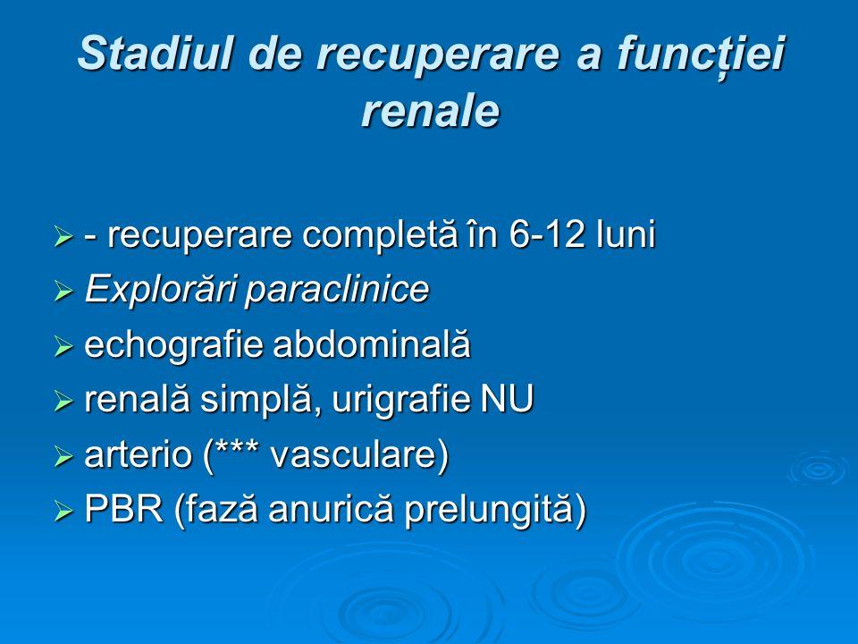 Stadiul de recuperare a funcţiei renale