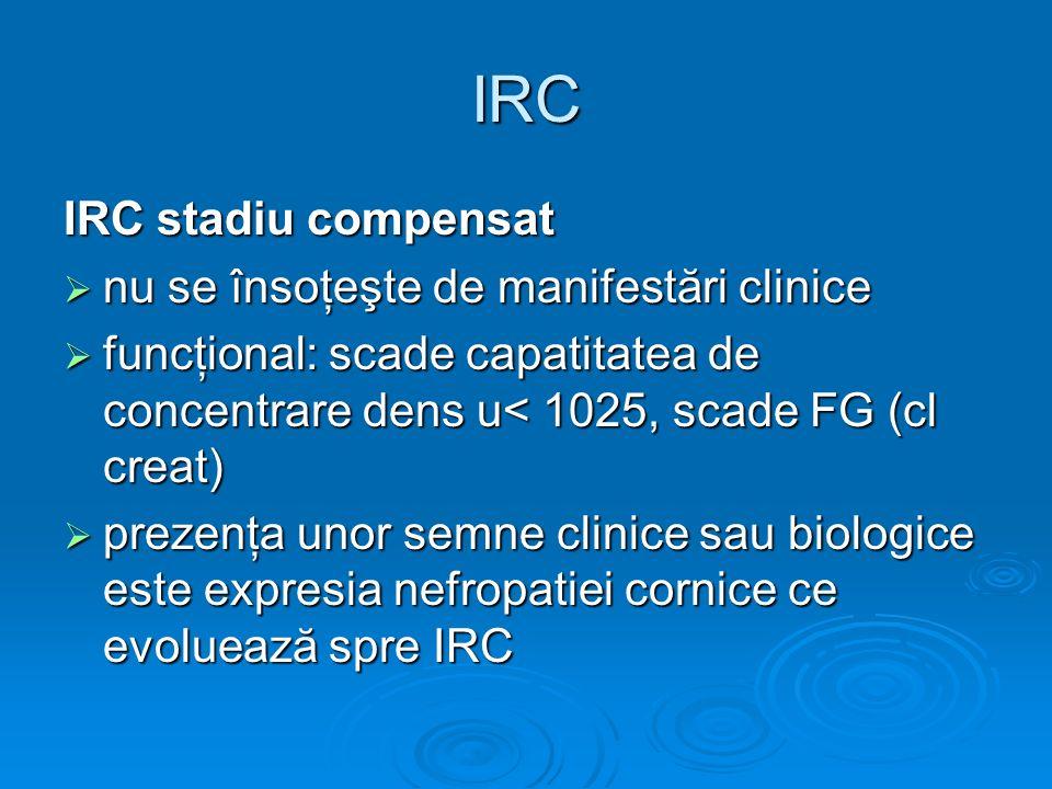 IRC IRC stadiu compensat nu se însoţeşte de manifestări clinice