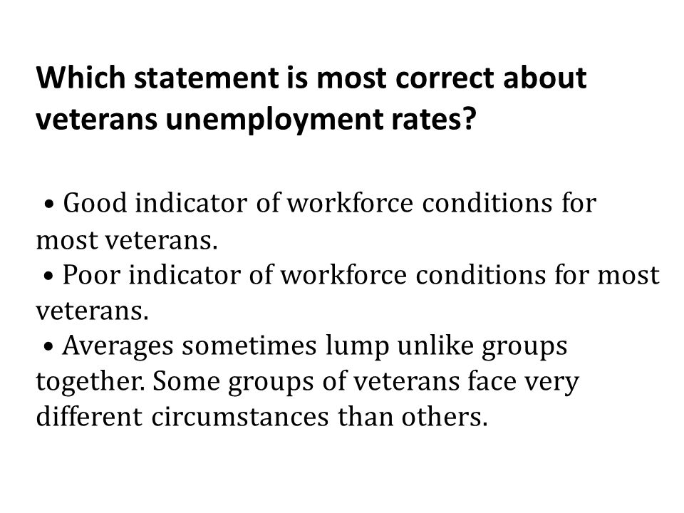 Which statement is most correct about veterans unemployment rates