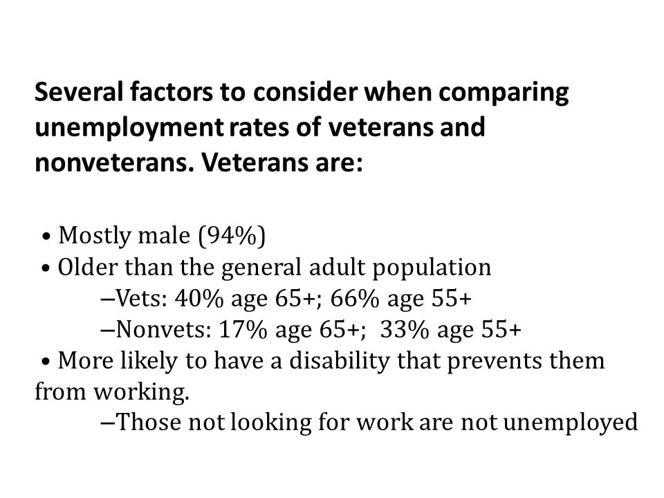 Several factors to consider when comparing unemployment rates of veterans and nonveterans. Veterans are: • Mostly male (94%) • Older than the general adult population –Vets: 40% age 65+; 66% age 55+ –Nonvets: 17% age 65+; 33% age 55+ • More likely to have a disability that prevents them from working. –Those not looking for work are not unemployed