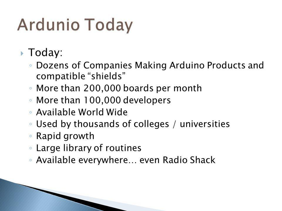 Ardunio Today Today: Dozens of Companies Making Arduino Products and compatible shields More than 200,000 boards per month.