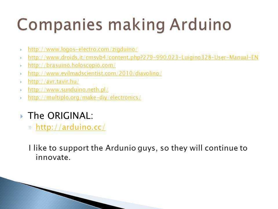 Companies making Arduino