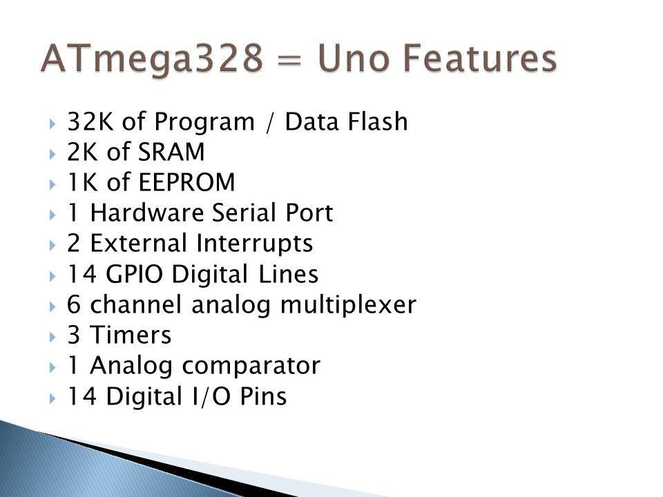 ATmega328 = Uno Features 32K of Program / Data Flash 2K of SRAM