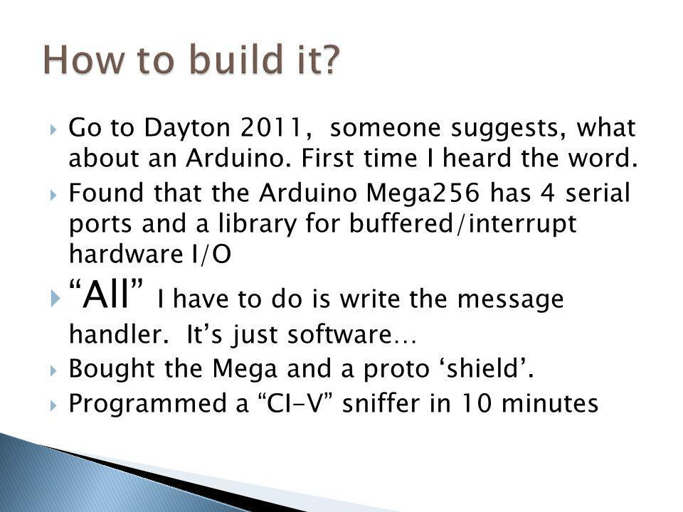 How to build it Go to Dayton 2011, someone suggests, what about an Arduino. First time I heard the word.
