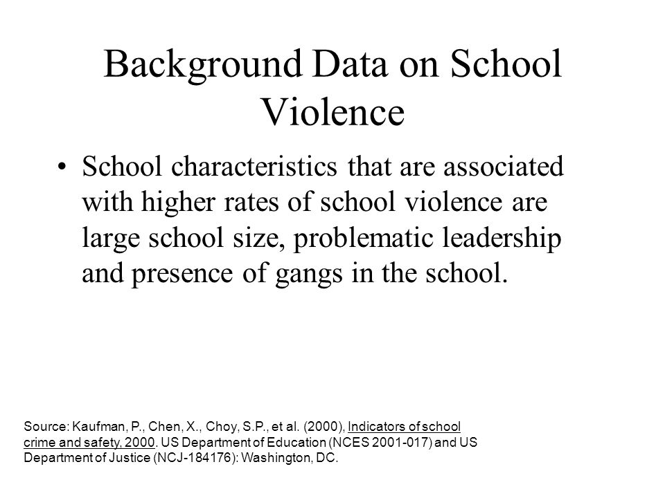 Background Data on School Violence