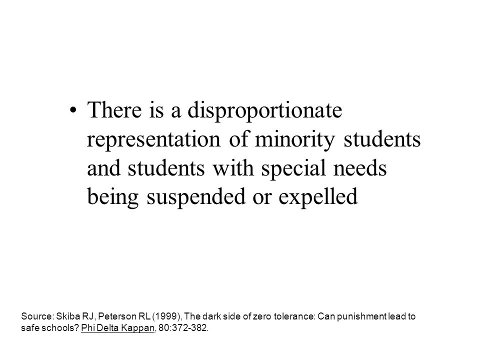 There is a disproportionate representation of minority students and students with special needs being suspended or expelled