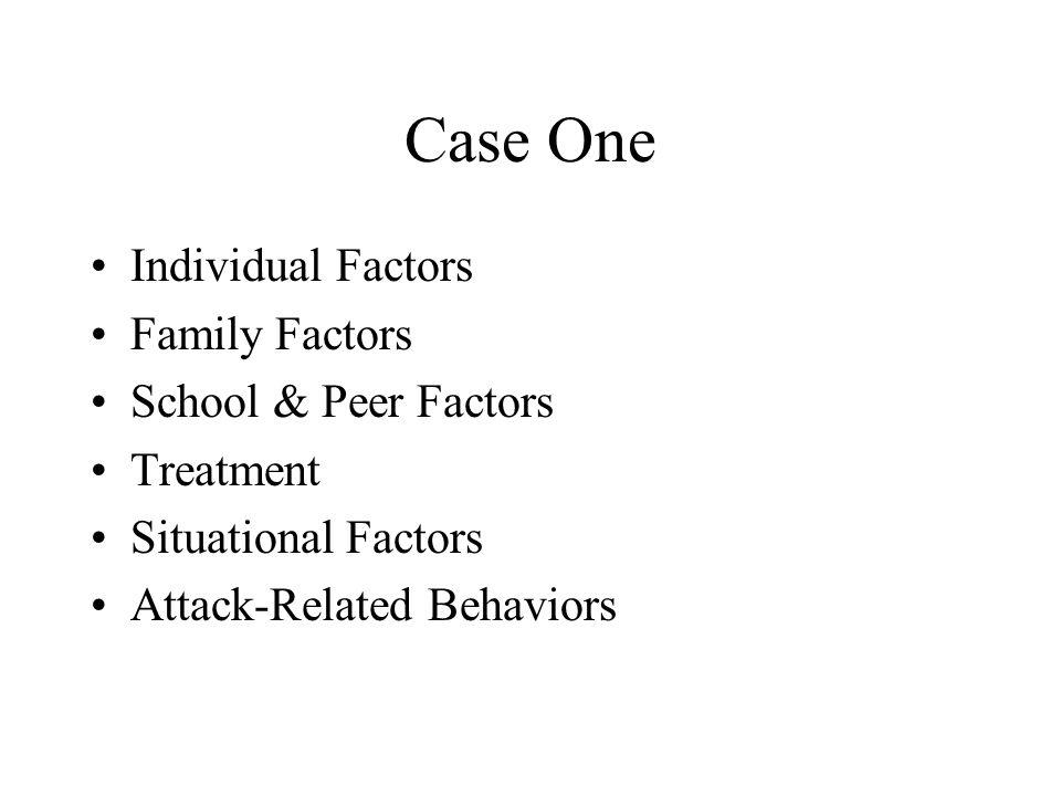 Case One Individual Factors Family Factors School & Peer Factors