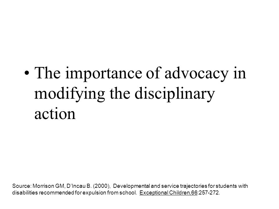 The importance of advocacy in modifying the disciplinary action