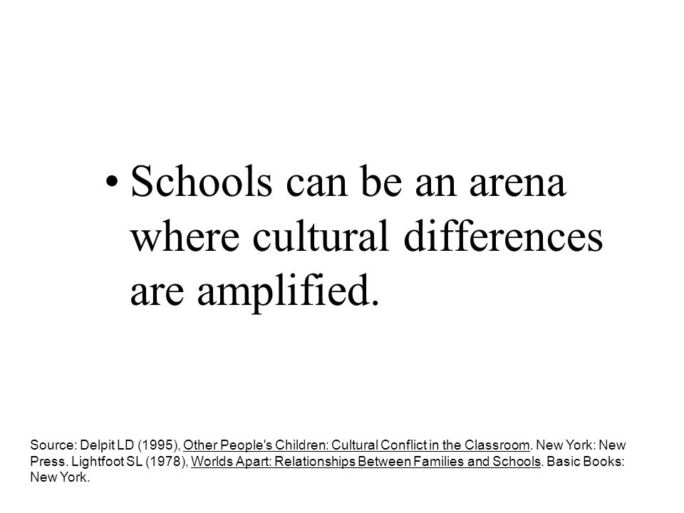 Schools can be an arena where cultural differences are amplified.