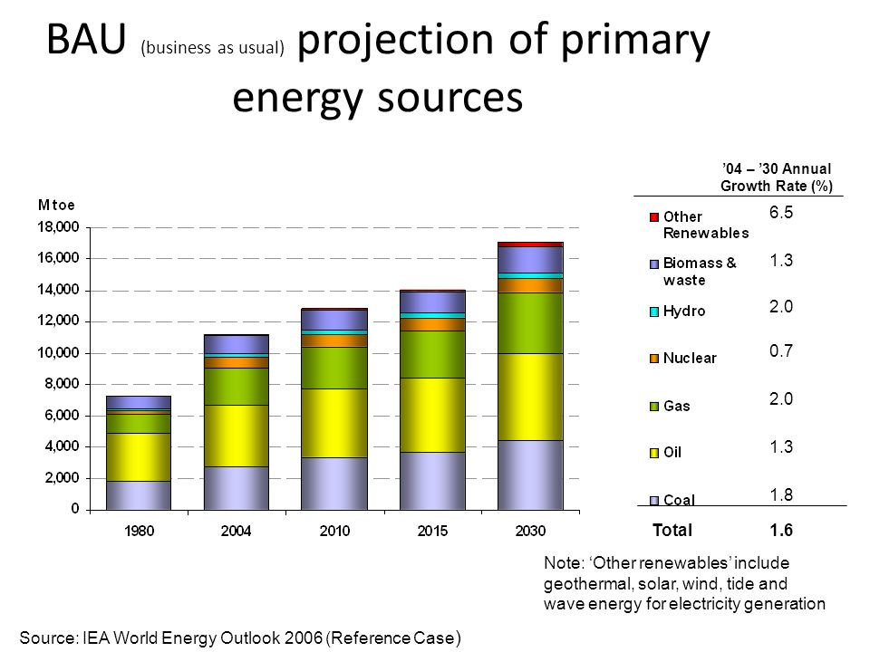 BAU (business as usual) projection of primary energy sources