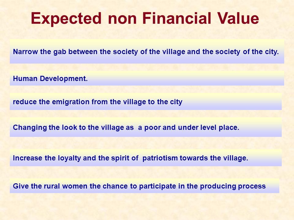 Expected non Financial Value