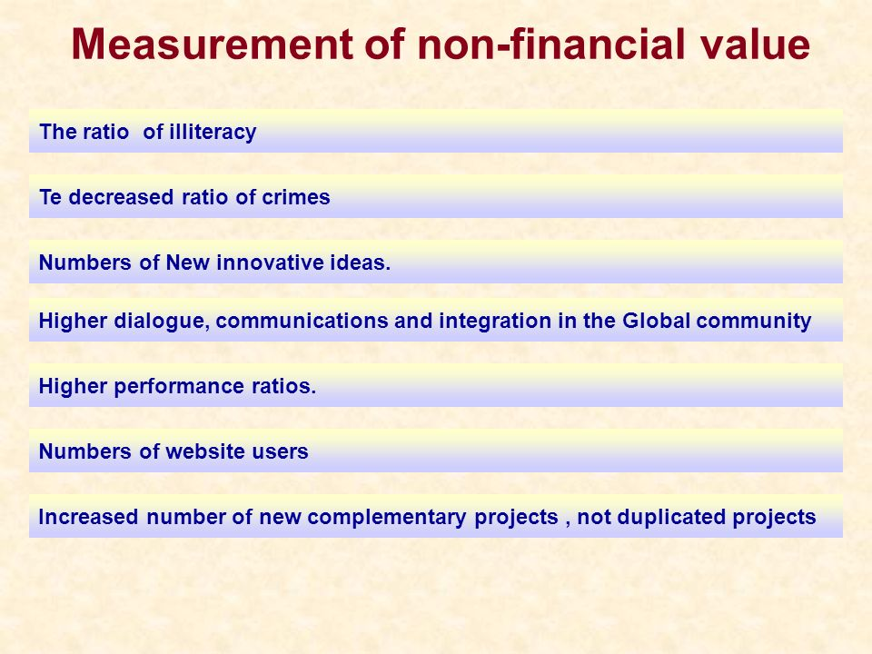 Measurement of non-financial value