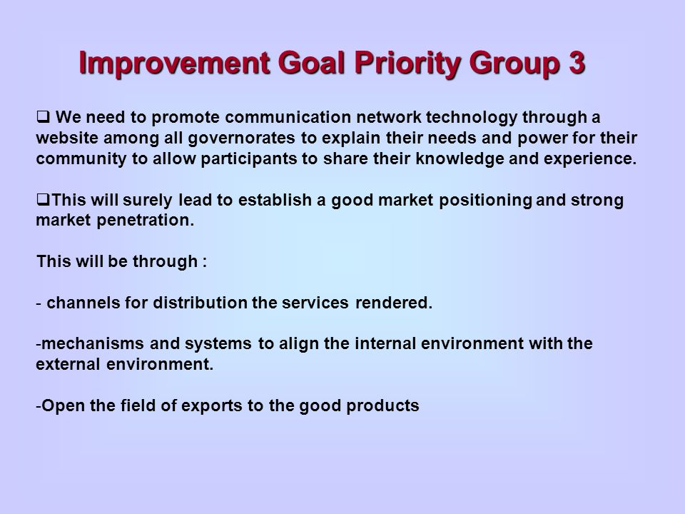 Improvement Goal Priority Group 3