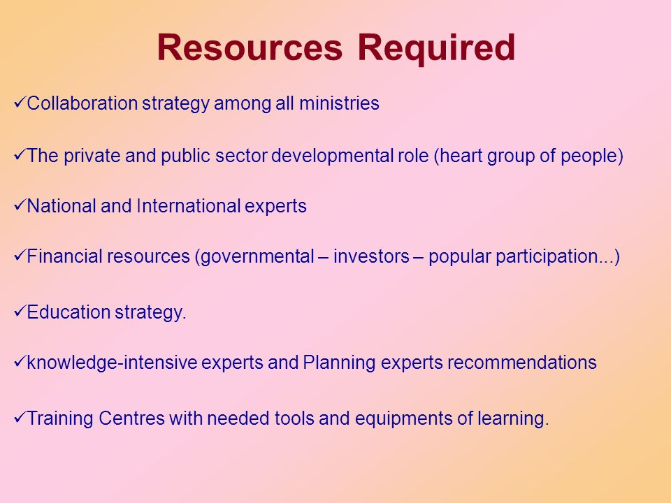 Resources Required Collaboration strategy among all ministries