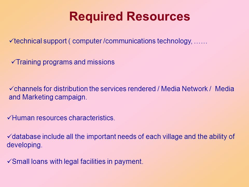Required Resources technical support ( computer /communications technology, …… Training programs and missions.