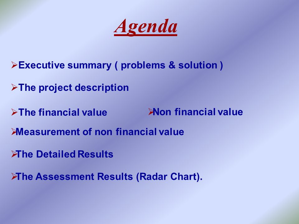 Agenda Executive summary ( problems & solution )
