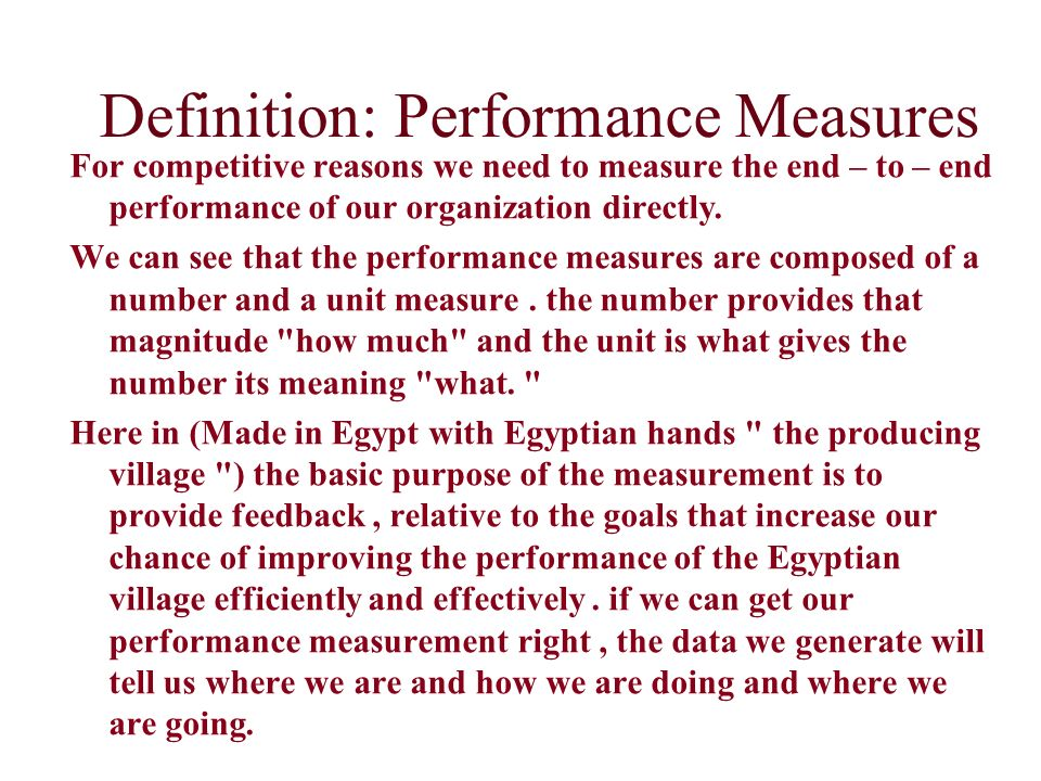 Definition: Performance Measures