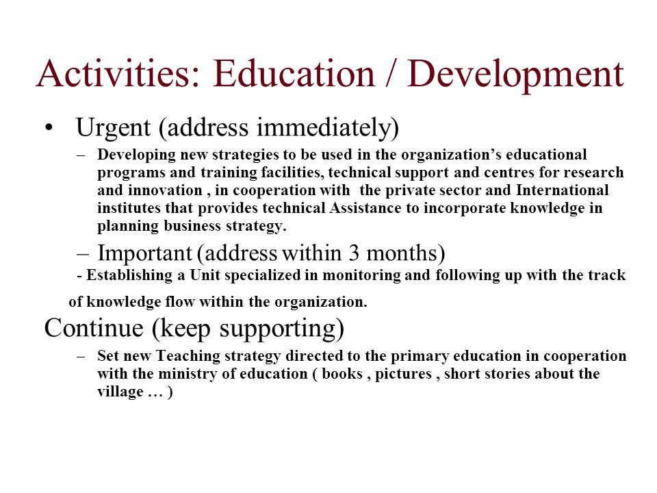 Activities: Education / Development