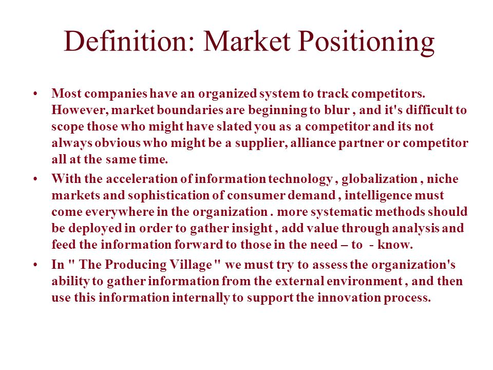 Definition: Market Positioning