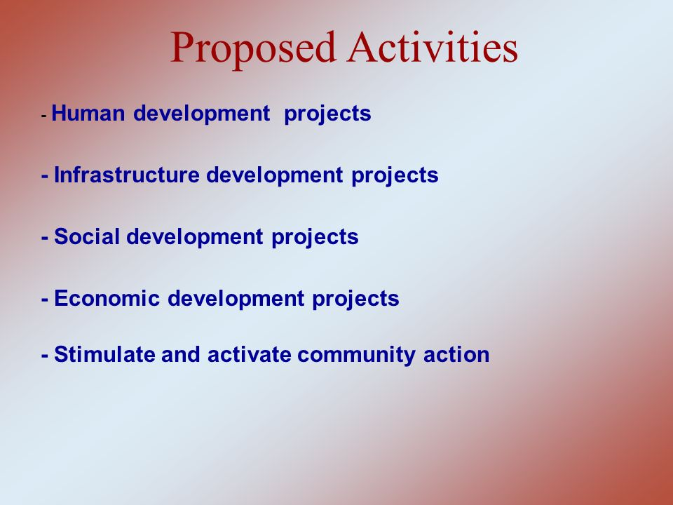 Proposed Activities - Infrastructure development projects