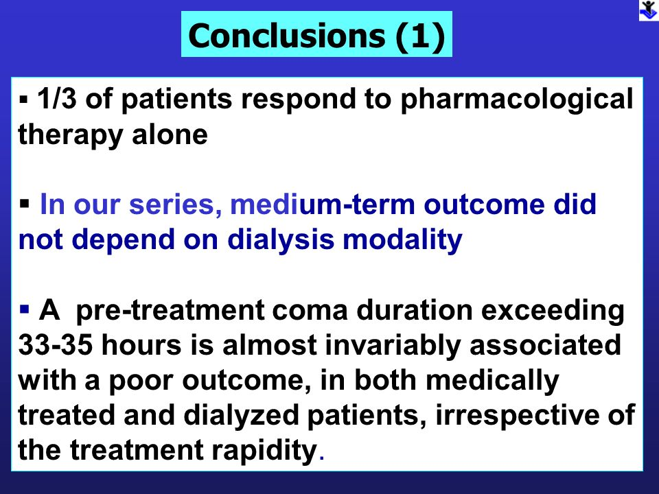 Conclusions (1)1/3 of patients respond to pharmacological therapy alone. In our series, medium-term outcome did not depend on dialysis modality.