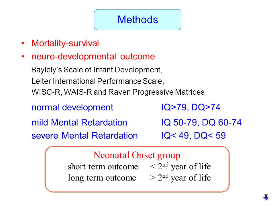 Methods Neonatal Onset group Mortality-survival