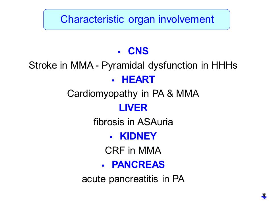 Characteristic organ involvement