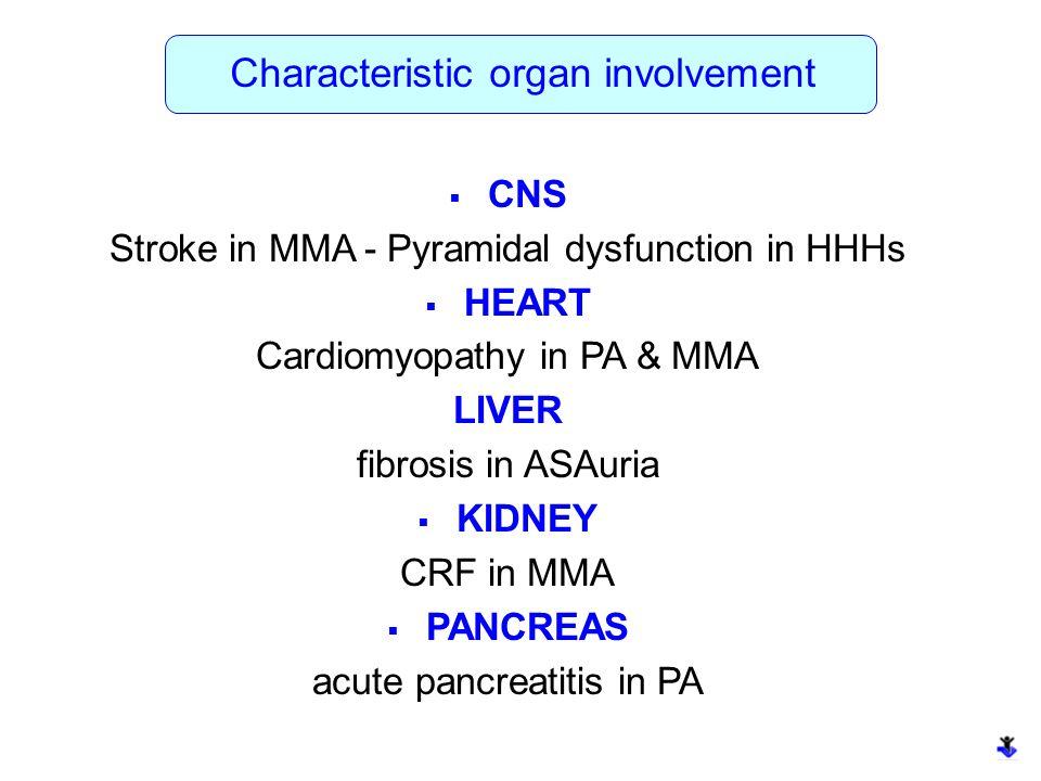 Characteristic organ involvement