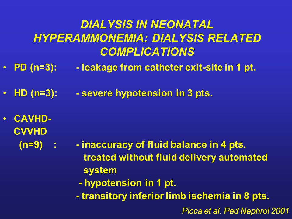 DIALYSIS IN NEONATAL HYPERAMMONEMIA: DIALYSIS RELATED COMPLICATIONS