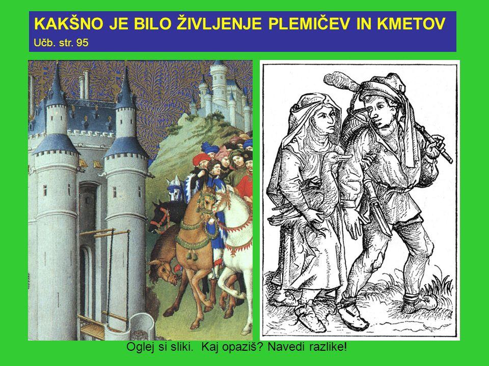 KAKŠNO JE BILO ŽIVLJENJE PLEMIČEV IN KMETOV Učb. str. 95