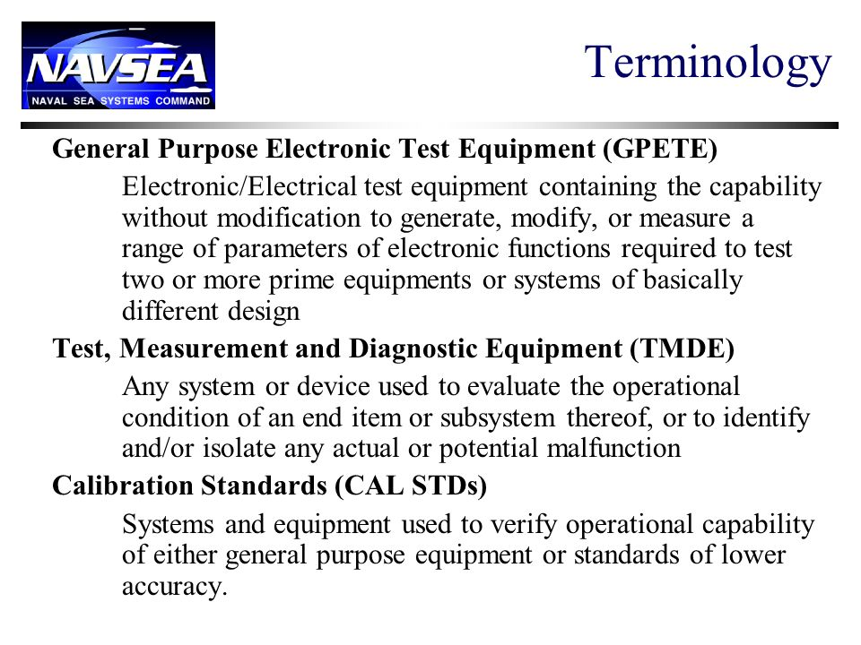 Terminology General Purpose Electronic Test Equipment (GPETE)