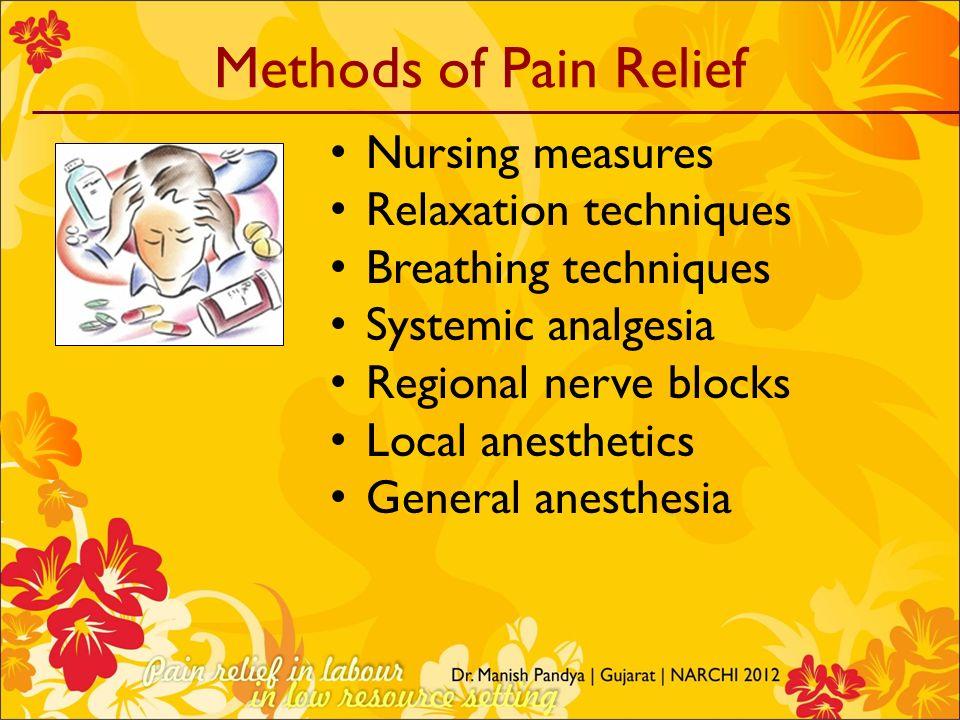 Methods of Pain Relief Nursing measures Relaxation techniques