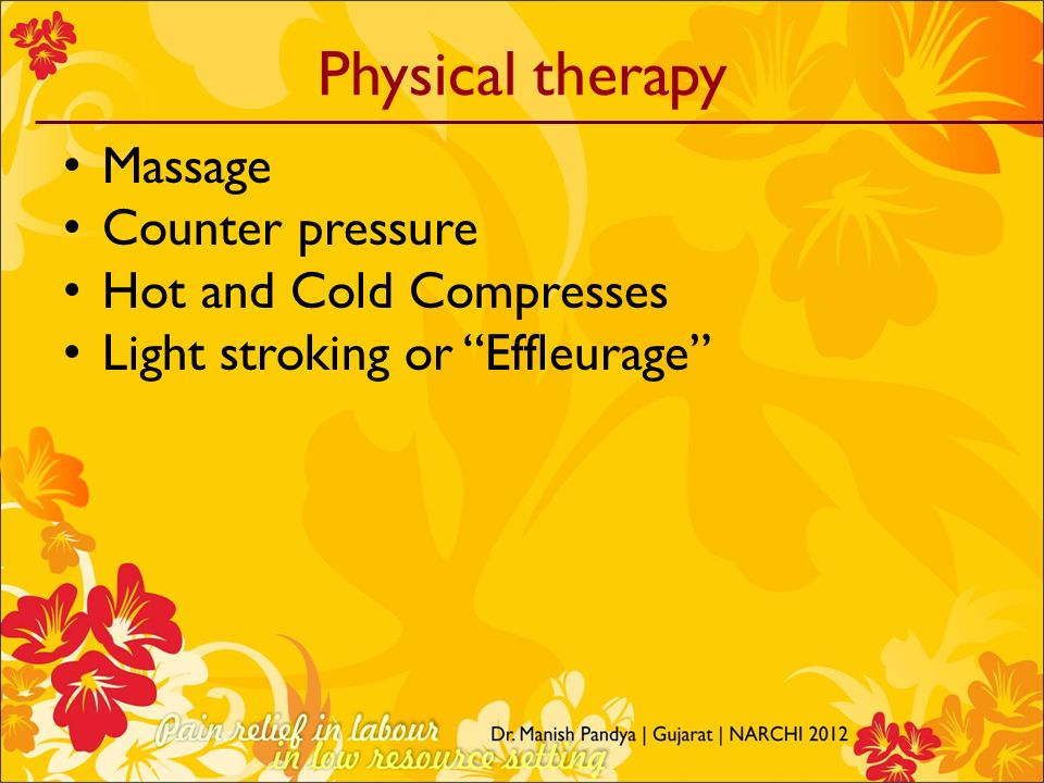 Physical therapy Massage Counter pressure Hot and Cold Compresses