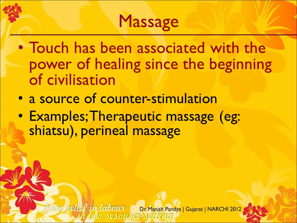 Massage Touch has been associated with the power of healing since the beginning of civilisation. a source of counter-stimulation.