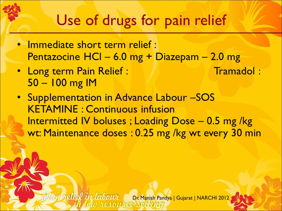 Use of drugs for pain relief