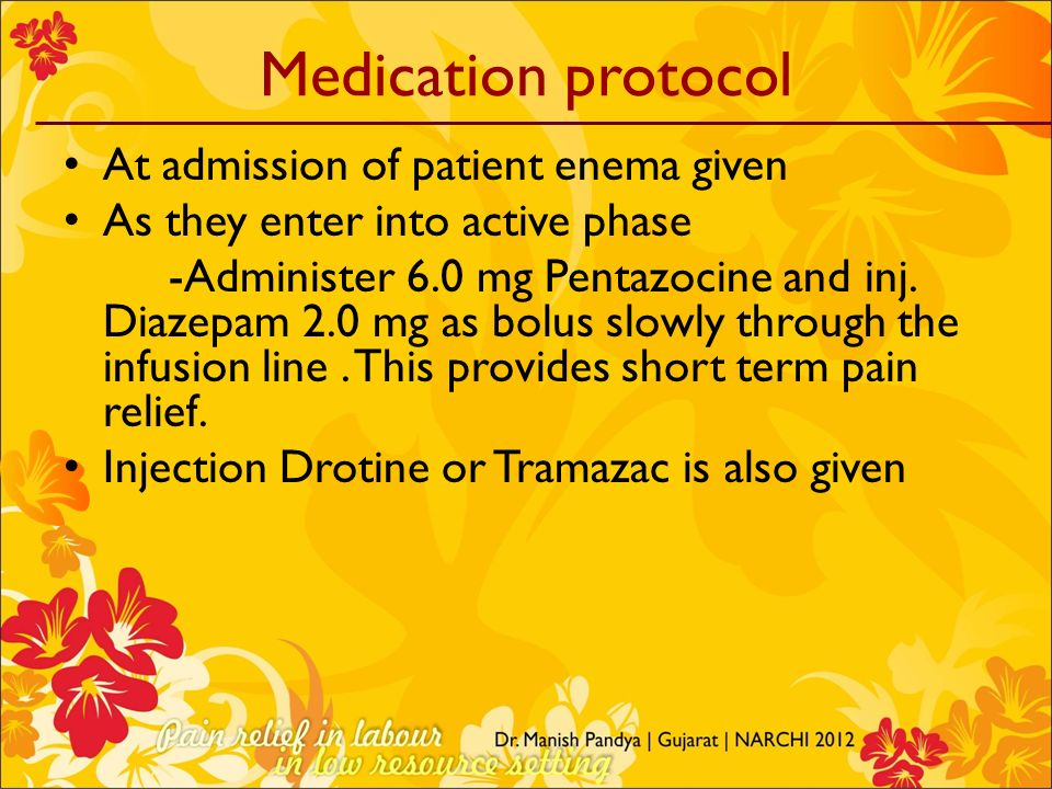Medication protocol At admission of patient enema given