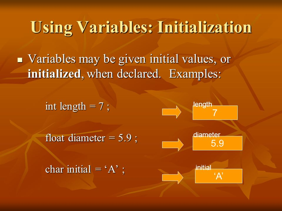 Using Variables: Initialization