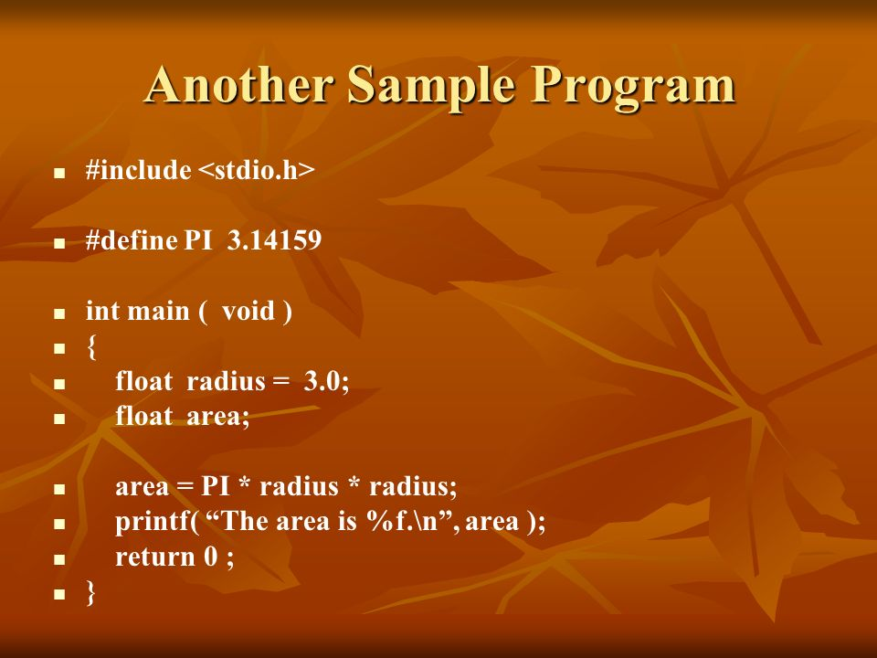 Another Sample Program