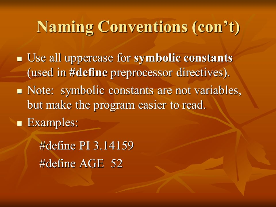 Naming Conventions (con't)