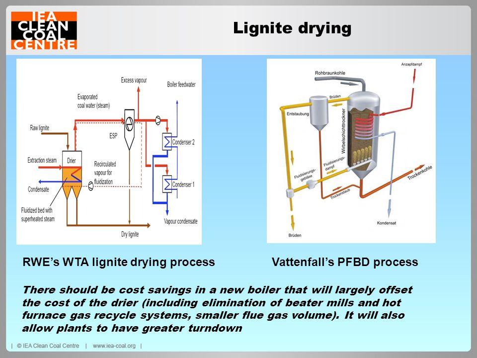RWE's WTA lignite drying process Vattenfall's PFBD process