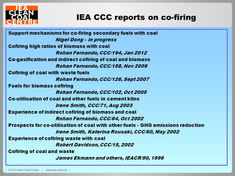 IEA CCC reports on co-firing