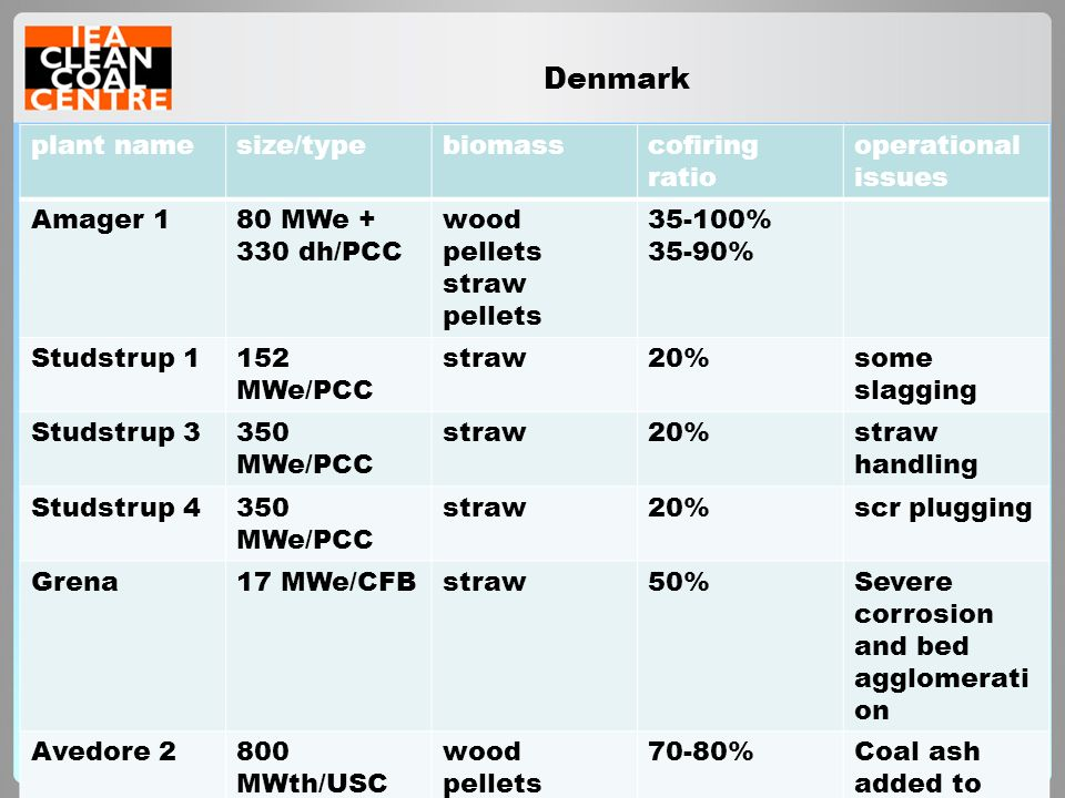 Denmark plant name size/type biomass cofiring ratio operational issues