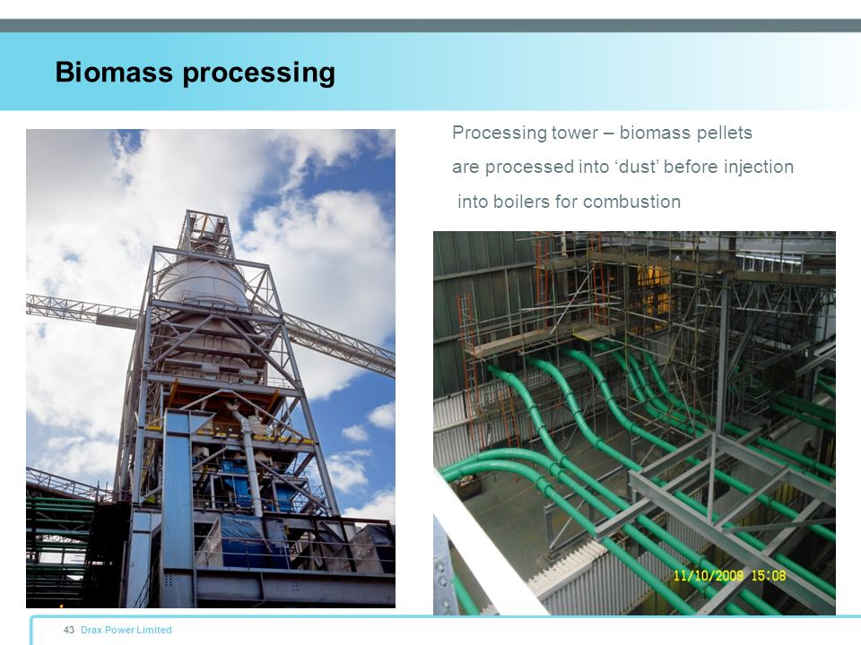 Biomass processing Processing tower – biomass pellets
