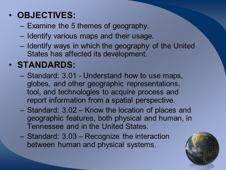 OBJECTIVES: STANDARDS: Examine the 5 themes of geography.