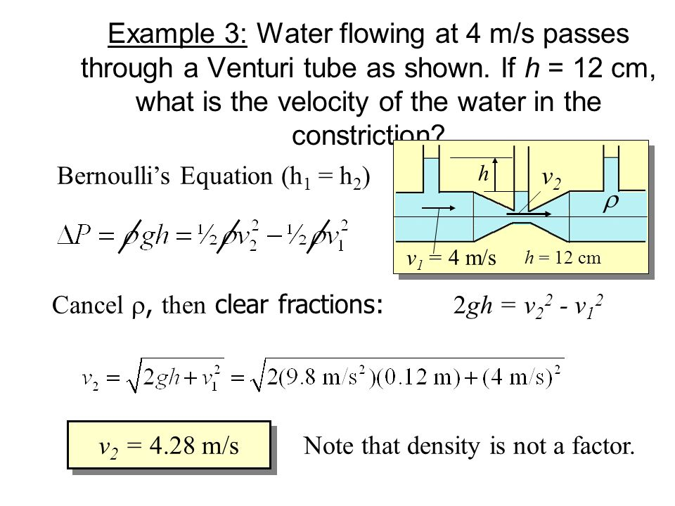 Example 3: Water flowing at 4 m/s passes through a Venturi tube as shown. If h = 12 cm, what is the velocity of the water in the constriction