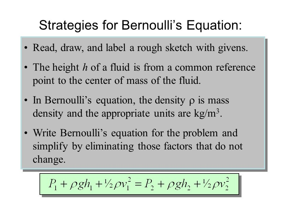Strategies for Bernoulli's Equation: