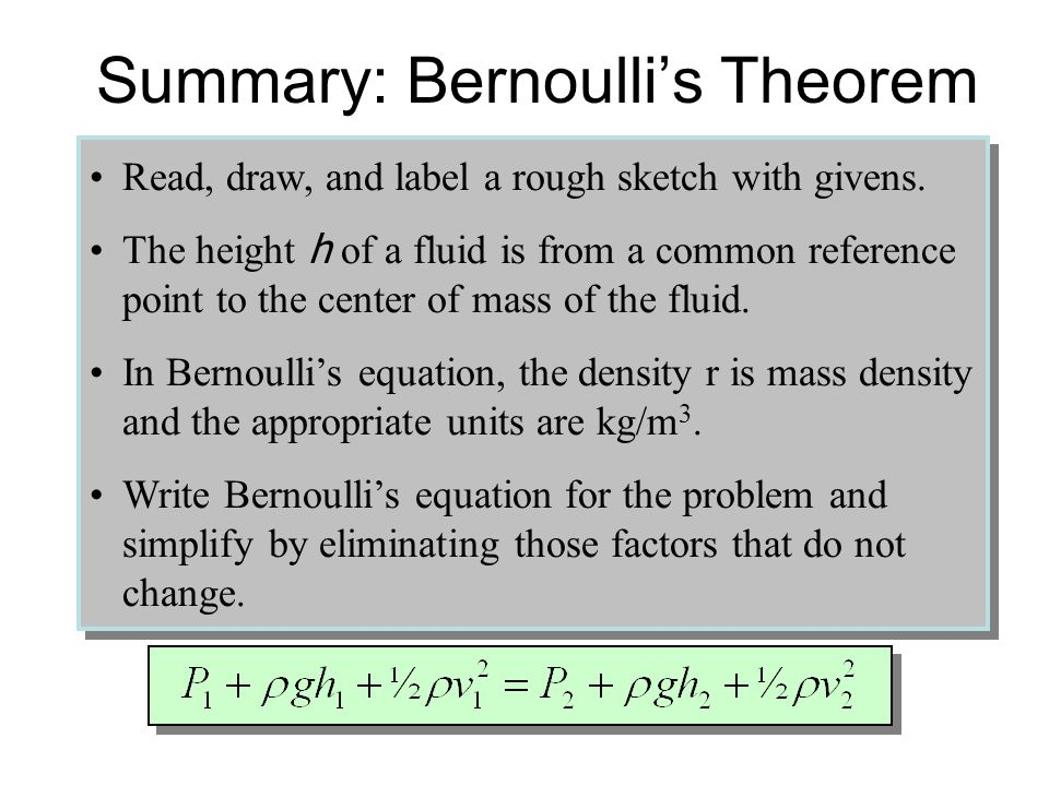 Summary: Bernoulli's Theorem