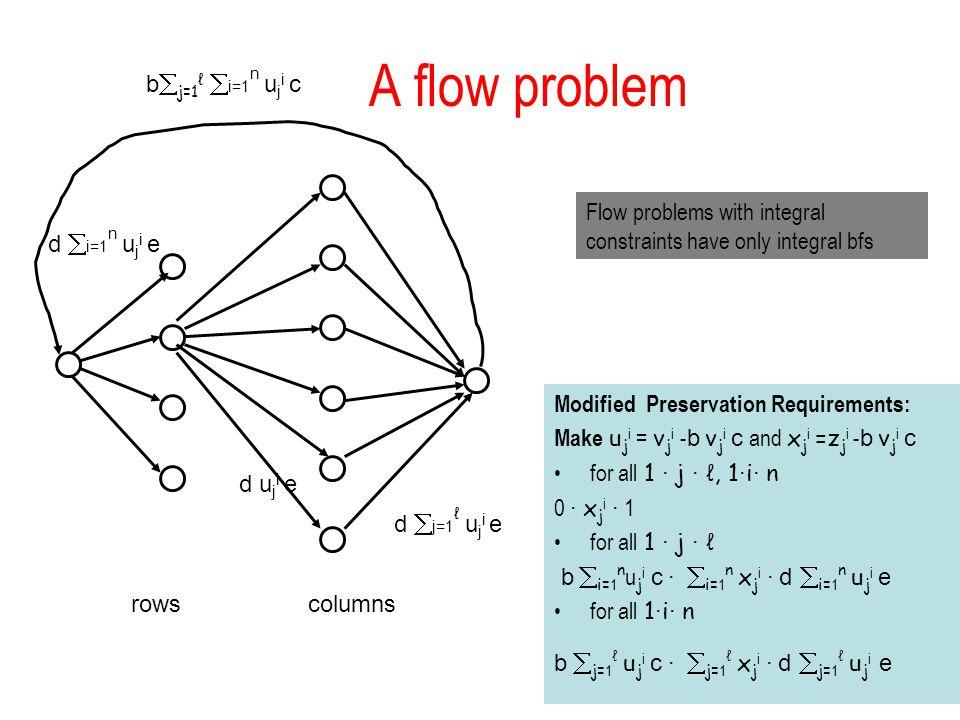A flow problem bj=1ℓ i=1n uji c