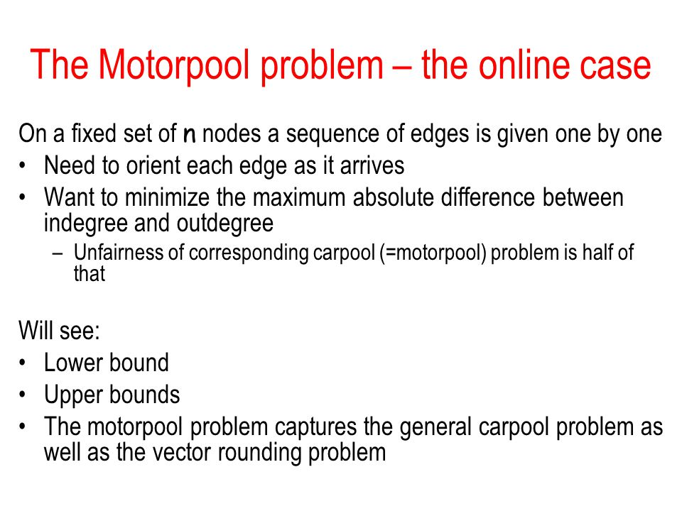 The Motorpool problem – the online case