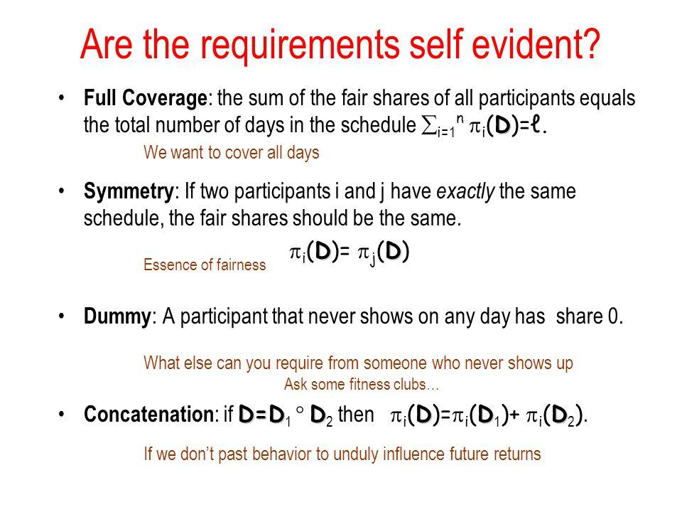 Are the requirements self evident